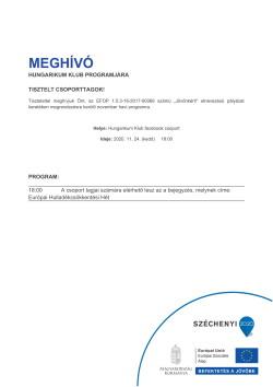 MEGHÍVÓ, Hungarikum, Európai Hulladékcsökkentési Hét, 2020.11.24.-1