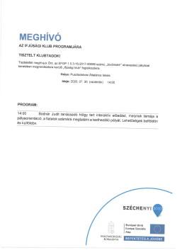 MEGHÍVÓ, Ifjúsági Klub, 2020.07.30.-1
