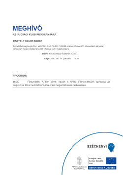 MEGHÍVÓ, Ifjúsági Klub, Filmvetítés, 2020.08.14., PDF-1