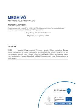 MEGHÍVÓ, Ifjúsági Klub, Karácsonyi hagyományok, 2020.12.11.-1