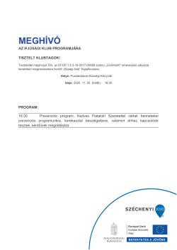 MEGHÍVÓ, Ifjúsági Klub, Prevenciós program, 2020.11.02.-1