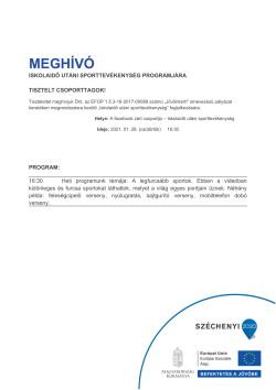 MEGHÍVÓ, Sportszervező, 2021.01.28.-1