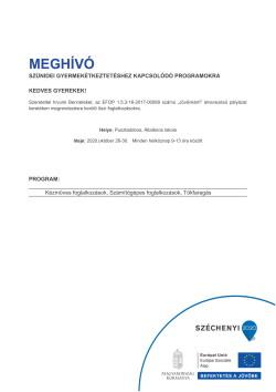 MEGHÍVÓ, Szünidei programok, 2020.10.26-30.-1