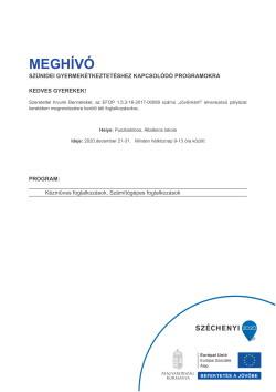 MEGHÍVÓ, Szünidei programok, 2020.12.21-31.-1