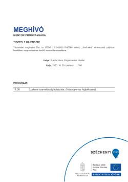 MEGHÍVÓ, Szakmai személyiségfejlesztés, 2020.10.30.-1