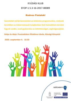 PLAKÁT, Ifjúsági K., Önkéntes program, 2020.09.04., PDF-1