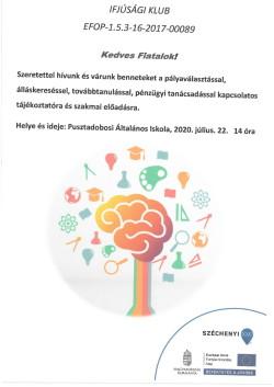 PLAKÁT, Ifjúsági Klub, 2020.07.22.-1
