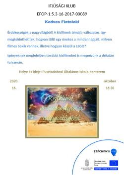 PLAKÁT, Ifjúsági Klub, 2020.10.16.-1