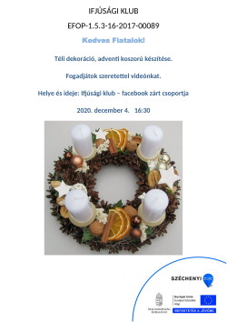 PLAKÁT, Ifjúsági Klub, Adventi koszorú k., 2020.12.04.-1