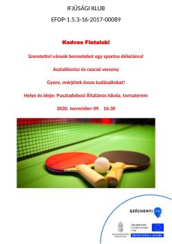 PLAKÁT, Ifjúsági Klub, Asztalitenisz, 2020.11.09.-1