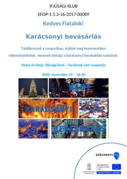 PLAKÁT, Ifjúsági Klub, Karácsonyi bevásárlás, 2020.11.27.-1