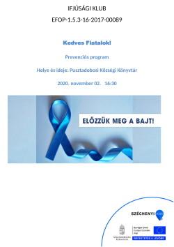 PLAKÁT, Ifjúsági Klub, Prevenciós program, 2020.11.02.-1