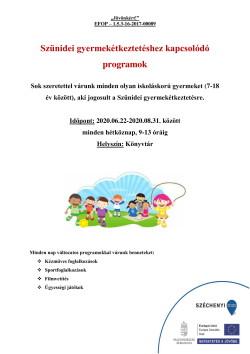 PLAKÁT, Szünidei programok, 2020.06.22-08.31., PDF-1