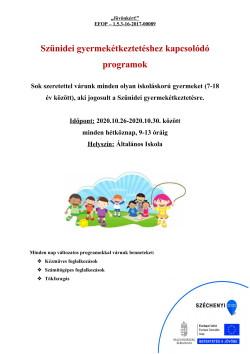 PLAKÁT, Szünidei programok, 2020.10.26-30.-1