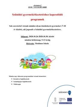 PLAKÁT, Szünidei programok, 2020.10.26-30., PDF-1