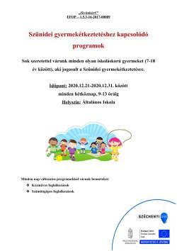 PLAKÁT, Szünidei programok, 2020.12.21-31.-1